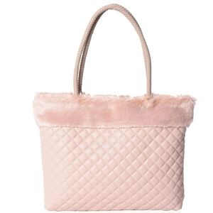 Blush Quilted Faux Leather With Faux Fur Trim Tote
